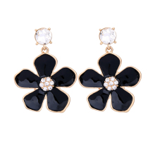 Black & Red Flower Stud Earrings Wholesale Cheap Jewelry Yiwu Fashion