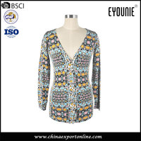 Floral Print Pattern Knitted Women Long Sweater Design Cardigan
