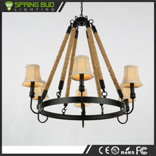 New fashion design round cage vintage hemp rope chandelier lighting with 1 layer