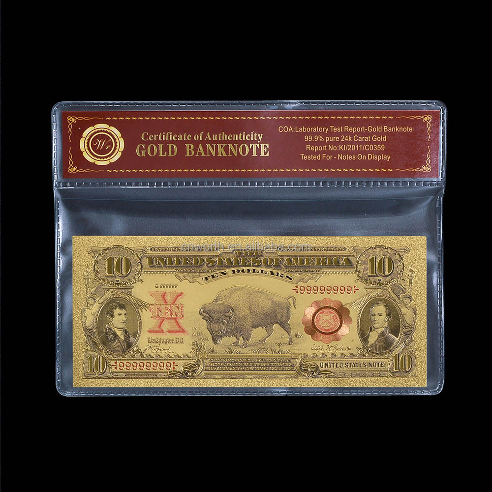 WR 1901 Year USD 10 Dollar 24K Gold Banknote Home Decorative Art Crafts Colored American Bills for Business Gifts