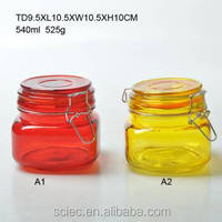 Colored FIDO WIRE BAIL SQUARE CANNING JARS / glass jar