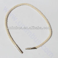 paper bag cotton rope handle with end metallic blockers(barb)