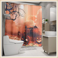 Fashion Halloween design digital printed polyester shower curtain fabric
