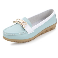 2014 women leather casual falt shoes lady casual shoes comfortable