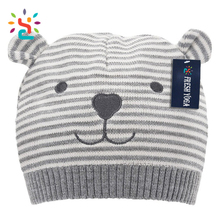 New arrival handmade animal hat funny beanie two ears soft rib knitted thermal baby beanie