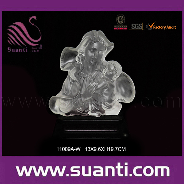 Resin clear crystal Baby Jesus with Mary Joseph figure