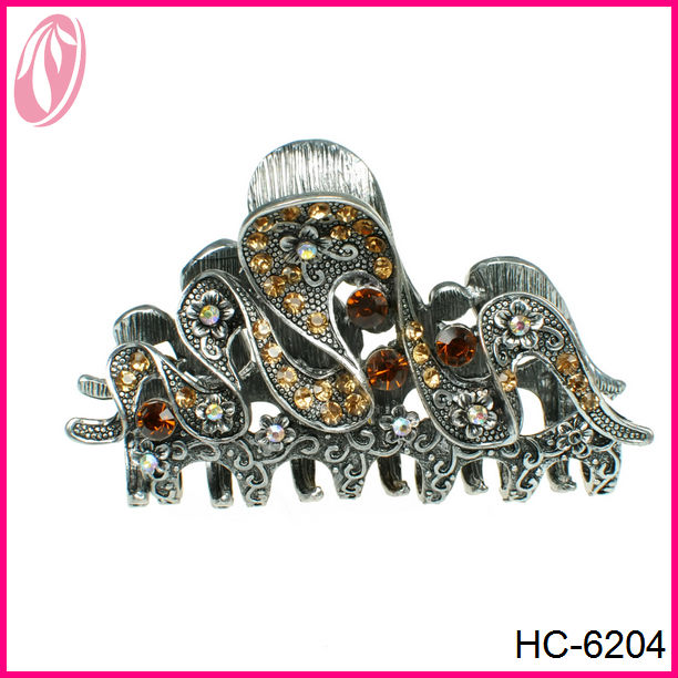 Wholesale antique metal rhinestone jeweled hair claw clips