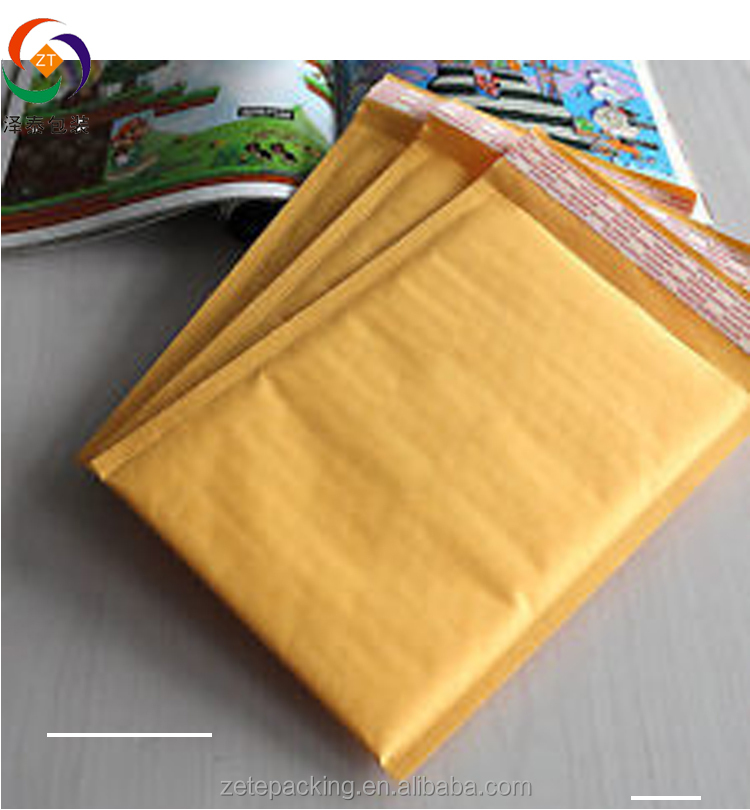 Custom printing self adhesive kraft bubble shipping envelope padded