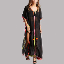 Vintage clothing bulk wholesale black half sleeve full length kaftan dress pom pom kaftan