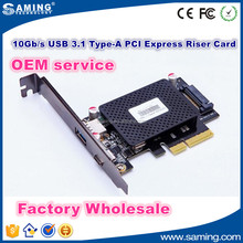 10 Gbps USB 3.1 Tipe A + C perempuan Ekspansi PCIe PCI Express Riser Card adapter