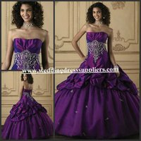 Q808 High Quality Strapless Ball Gown Purple 2012 New Design Evening Dress
