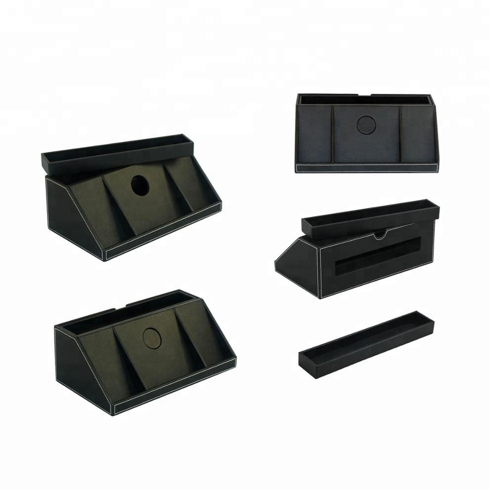 Hot Selling Leather Table Desk Organizer Charge Station with Drawer