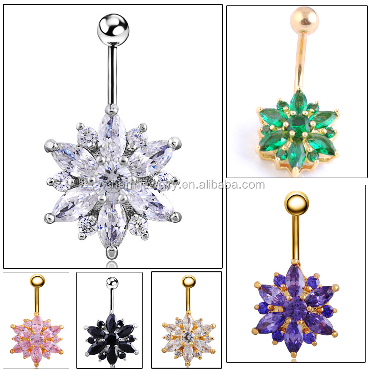 Fashion Body piercing Jewelry with AA Zircon belly button ring flower CCSP-<strong>002</strong>