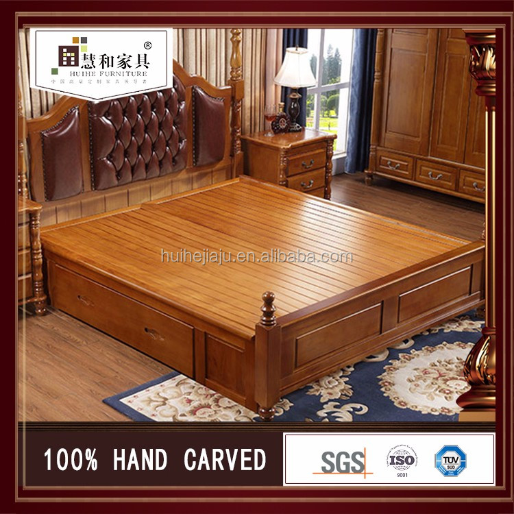 Custom New Design Bed Frame With Drawers , Bed With Storage