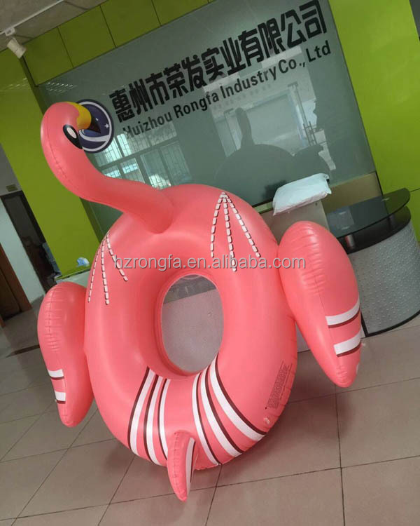 Hot ce certificate pvc 195cm large water pool toys / swimming pool toys /inflatable pink flamingo