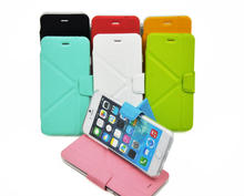Hot selling stand pu leather cell phone cases for iphone 6