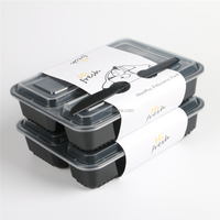 500ML 650ML 750ML 1250ML PP Compartment Microwable Disposable Plastic Food Container