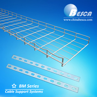 Waved steel wire mesh cable tray with customized surface treatment