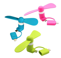 P46 Digital Mini Fan 2-in-1 Mini for iPhone/iPad and Android - Pink/Blue/Green - 3 Piece