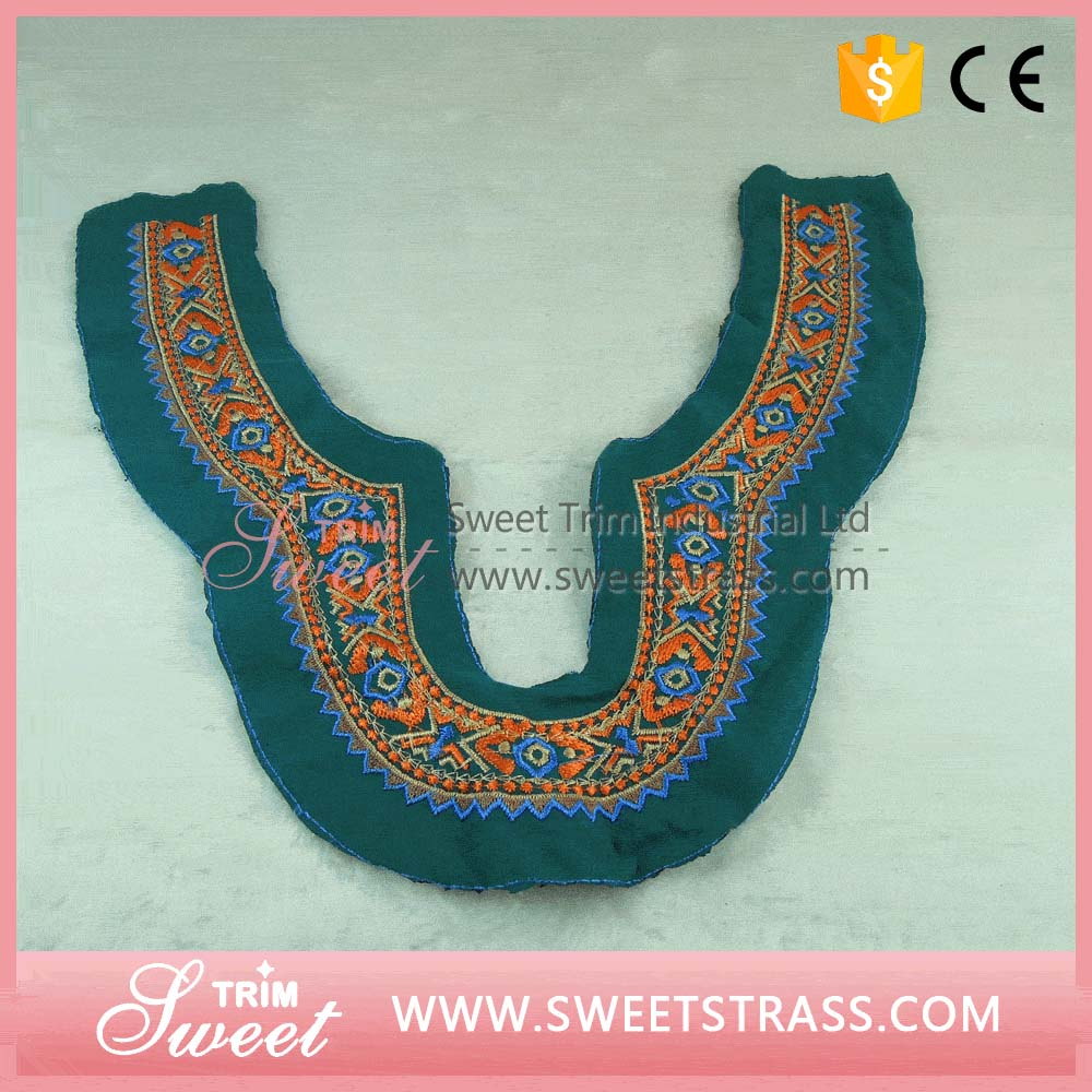Factroy directly embroidery lace collar embroidery collar motif