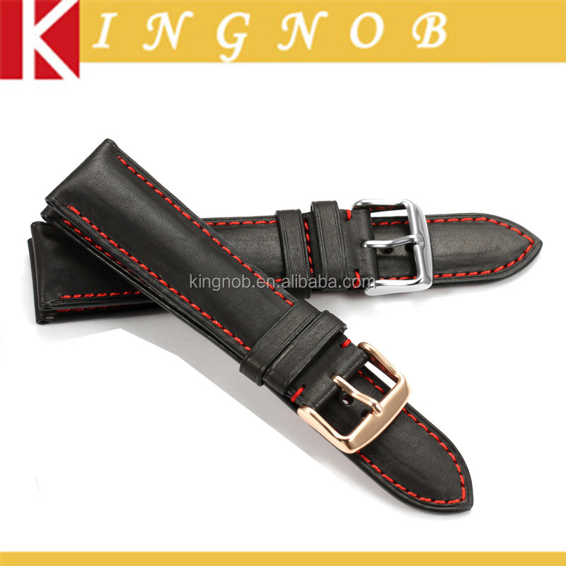 OEM 18mm to 24mm Black/Red Stitch France Natural Calf Skin Leather Changeable Watch Strap