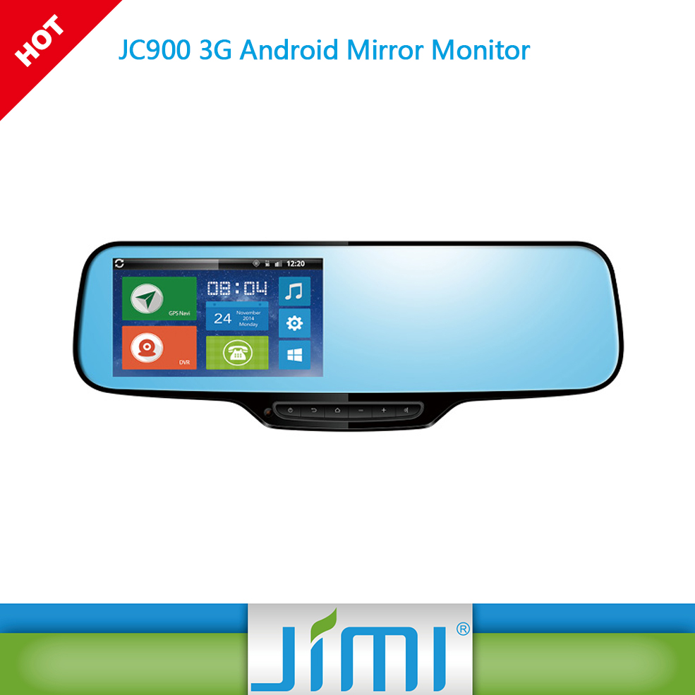 JC900 3G Android rearview mirror automobile dvr monitor with google map navigaiton and gps tracking
