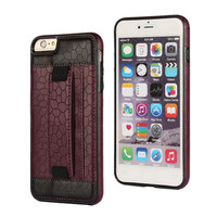 Black cellphone pu leather belt portable mobile cover case with camera hole for iphone6