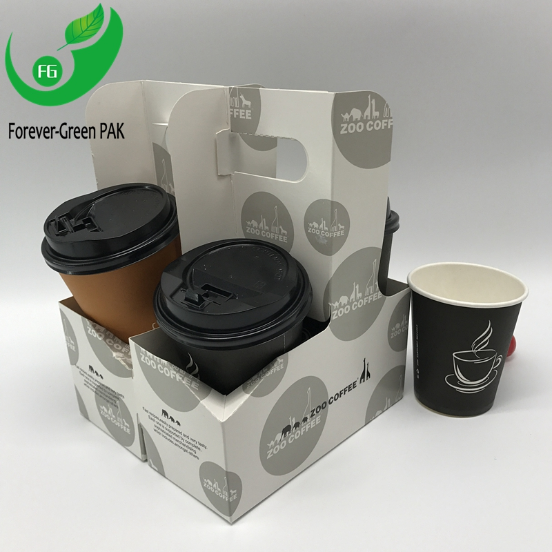 paper cup holder with logo Durable cardboard takeaway coffee 2-4 paper cup holder