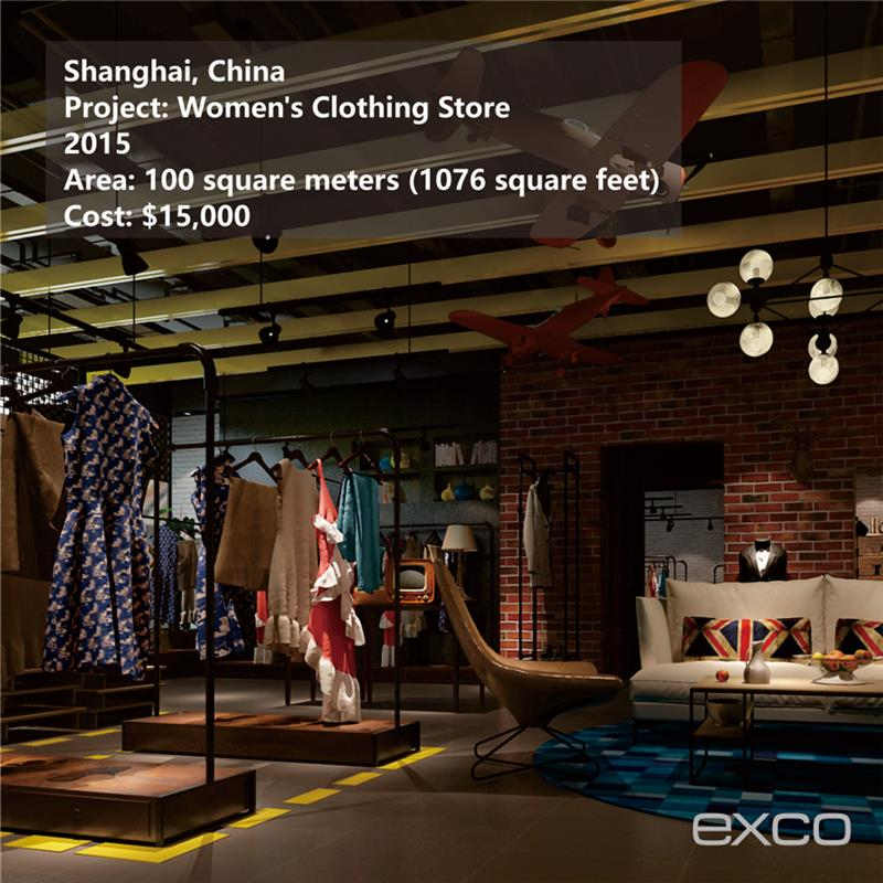 EXCO interior decoration materials used interior design for garment store