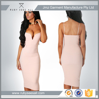 OEM ladies sexy nude pink bodycon midi dress with solid colour design for women party online China supplier 2016