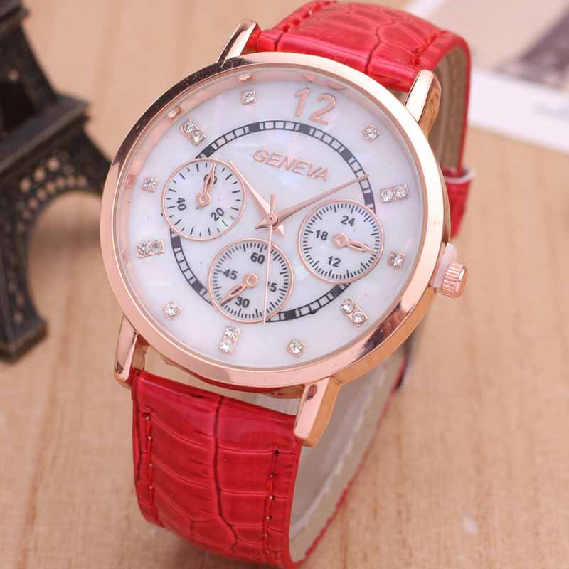 Genuine Or PU Leather Band Fashion Rose Gold Analog Digital Wrist Watch for Women
