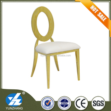 white and gold stainless steel frame dining chair