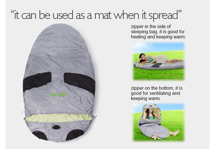 Outdoor Hiking Travel Sleeping Bag Camping Wholesale Ultra Compact Sleeping Bag / Panda Model Sleeping Bag For Adult
