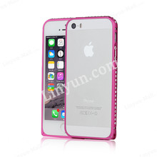 Aluminum Buckle Metal Bumper Case For iphone 5 5S with Diamond Pattern