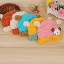 Cartoon Hat with Ears Knitted Girl Boy Baby 1 PC warm winter hats wholesale kids 1-3 years caps
