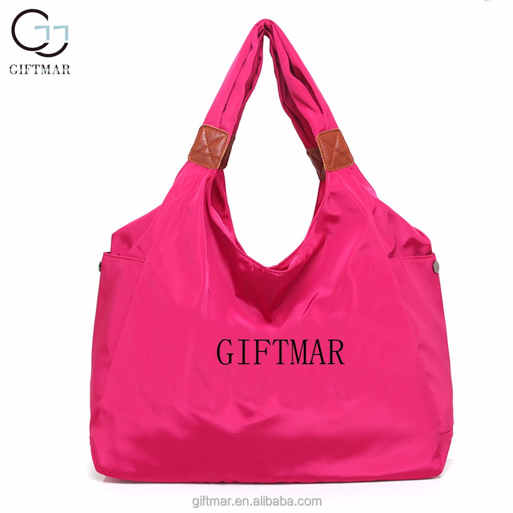Fashion tinted waterproof nylon women handbags, nylon designer clear tote bags