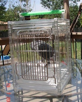 Pet Cages, Carriers & Houses acrylic bird cag acrylic bird cage with wood perch, acrylic bird display cage with wire mesh
