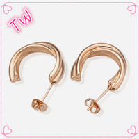 drop shipping rose gold jewellery dubai cheap huggie small tin alloy earrings top ,funky stud earrings for college girls
