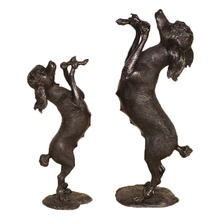 Garden Home Metal Craft Cast Bronze Standing Poodle Dogs Set Statue