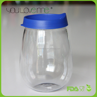 2015 new design plastic portable wine glass with lid