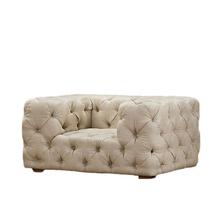 Retro Button Tufted Fabric Velvet Sofa With Ivory Color