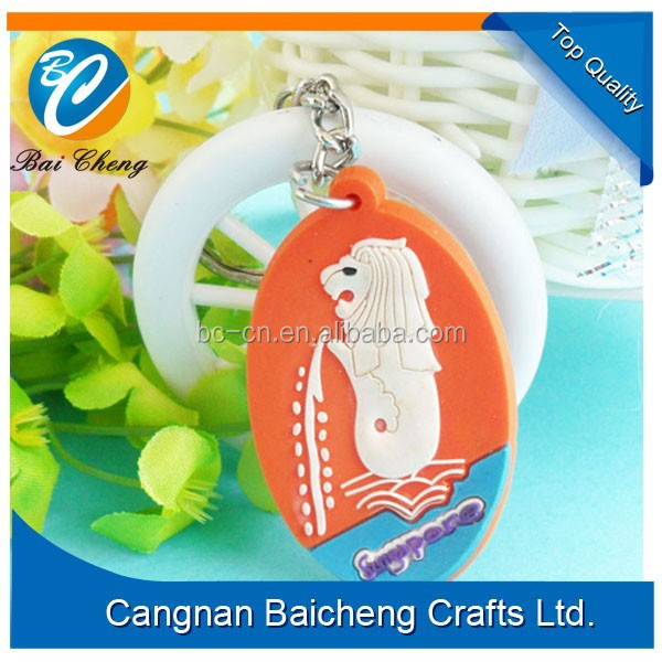 promotional soft rubber key chain with 3D oval shape supplies best price and quality in custom logo and brand