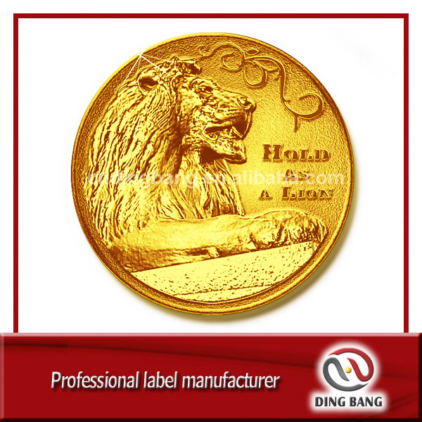 OEM Wholesale Gift Box Packaged High Precision Custom Collective Soucenir Metal Embossed Lion Glossy Gold Coin