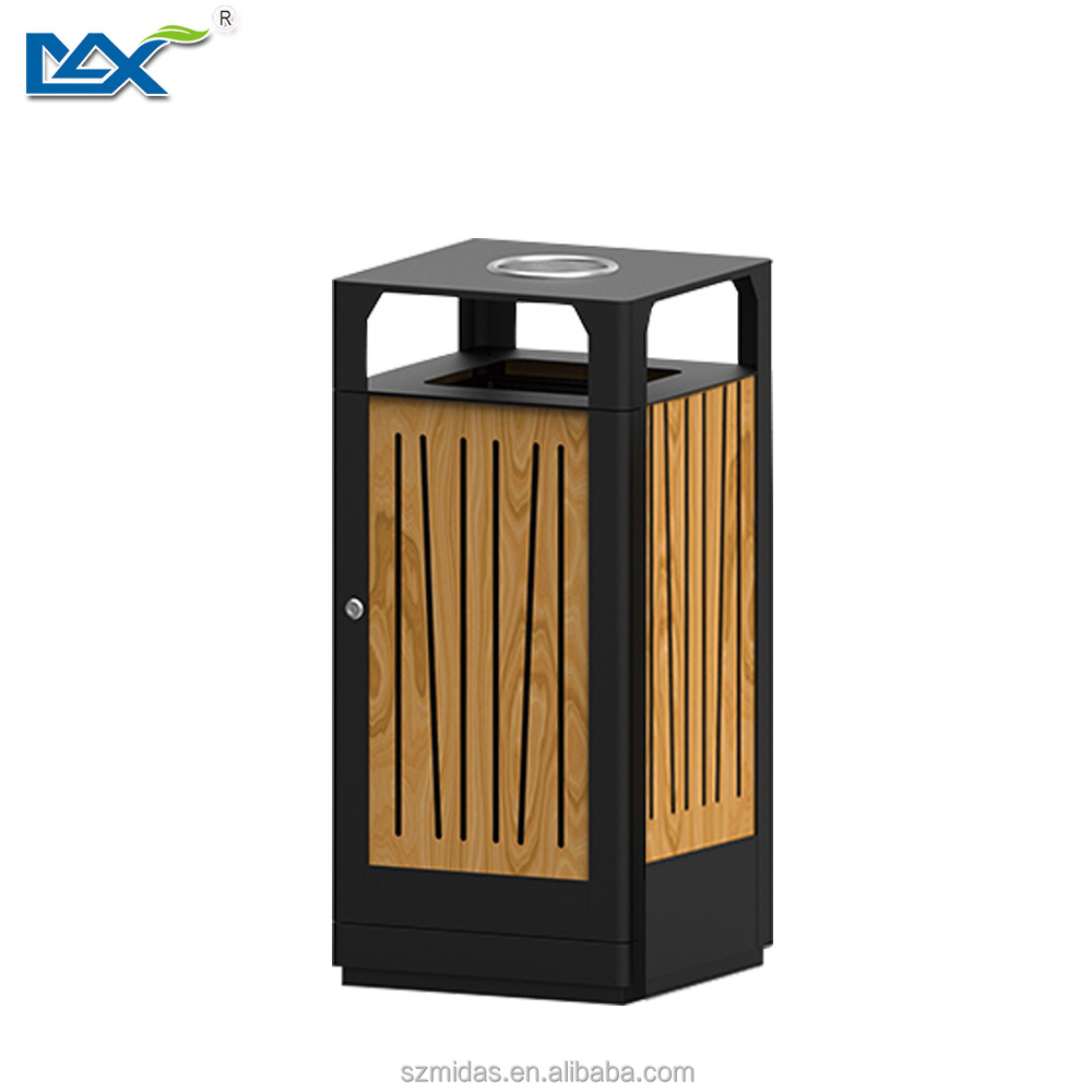 outdoor wooden garbage dustbin with ashtray