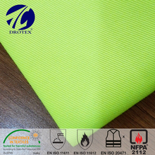 Inherently flame retardant fiber Hi-vis yellow modacrylic/cotton twill fabric with anti-static grid