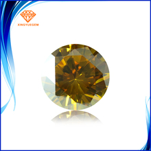 Cheap price golden loose cubic zriconia round brilliant cut