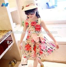 New Fashion Girl Kids Lovely Floral O-neck Sleeveless Bow-knot Sundress