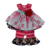 Wholesale Girls Thanksgiving Outfit High Quality Decorative Outfit Party Dress Child Clothing Set
