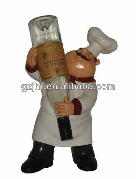 Decorative resin chef wine bottle holder craft