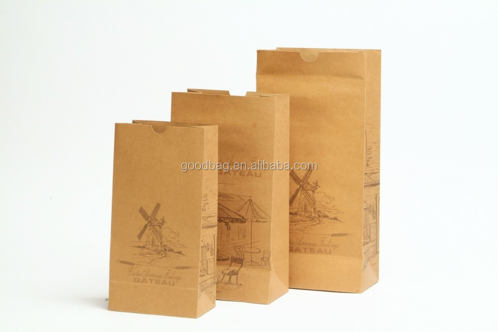 MJ-KBP06 high quality greaseproof brown kraft paper bag for food alibaba china guangzhou